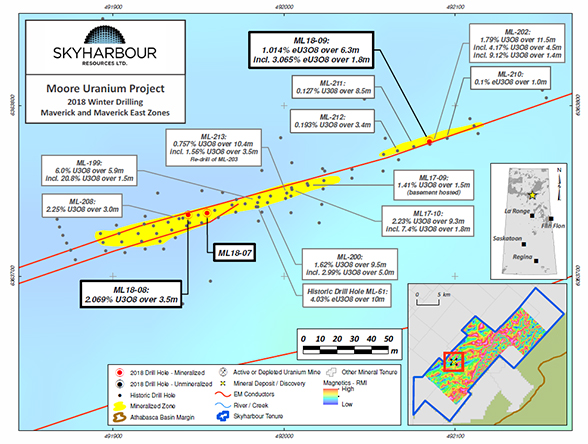 Moore Uranium Project Main and East Maverick Zones Drilling Map