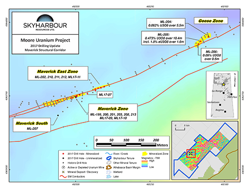 Moore Uranium Project Maverick and Goose Zones Drilling: