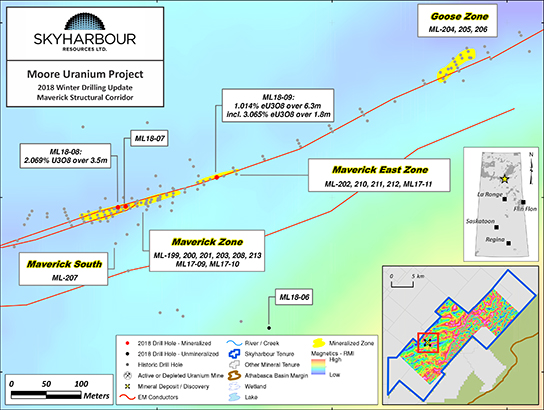 Moore Uranium Project Maverick Corridor Drilling Map